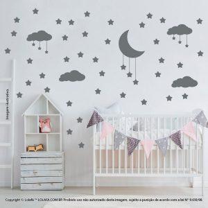 Kit Cartela Adesivos Para Parede De Quarto De Bebe Nuvens Estrelas e Lua Mod:740