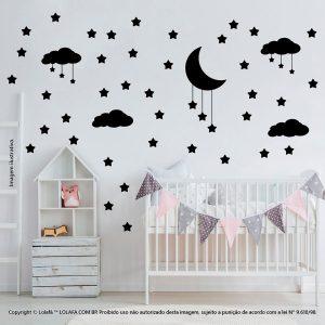 Kit Cartela Adesivos Parede Quarto Infantil Nuvens Estrelas e Lua Mod:742