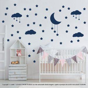 Kit Cartela Adesivo De Parede Infantil Barato Nuvens Estrelas e Lua Mod:743