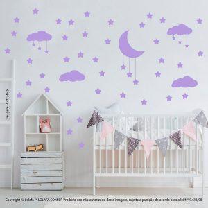 Kit Cartela Adesivo Para Parede Quarto De Bebe Nuvens Estrelas e Lua Mod:745