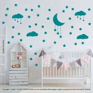 Kit Cartela Adesivo De Quarto Infantil Nuvens Estrelas e Lua Mod:746