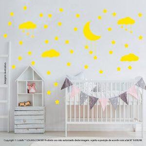 Kit Cartela Adesivos De Quarto Infantil Nuvens Estrelas e Lua Mod:747
