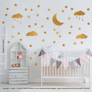 Kit Cartela Adesivos Decorativos Infantil Nuvens Estrelas e Lua Mod:748