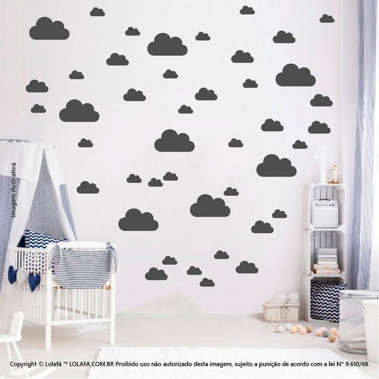 Kit Cartela Adesivos Para Decorar Quarto De Bebe Nuvens Mod:753