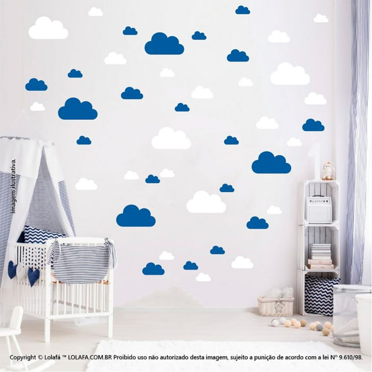Kit Cartela Adesivo Decorativo De Parede Infantil Nuvens Mod:755