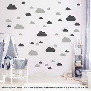 Kit Cartela Adesivo Decorativo Quarto Bebe Nuvens Mod:756