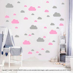 Kit Cartela Adesivos De Parede Infantis Nuvens Mod:759