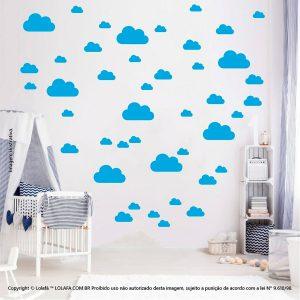 Kit Cartela Adesivo Infantil Nuvens Mod:763