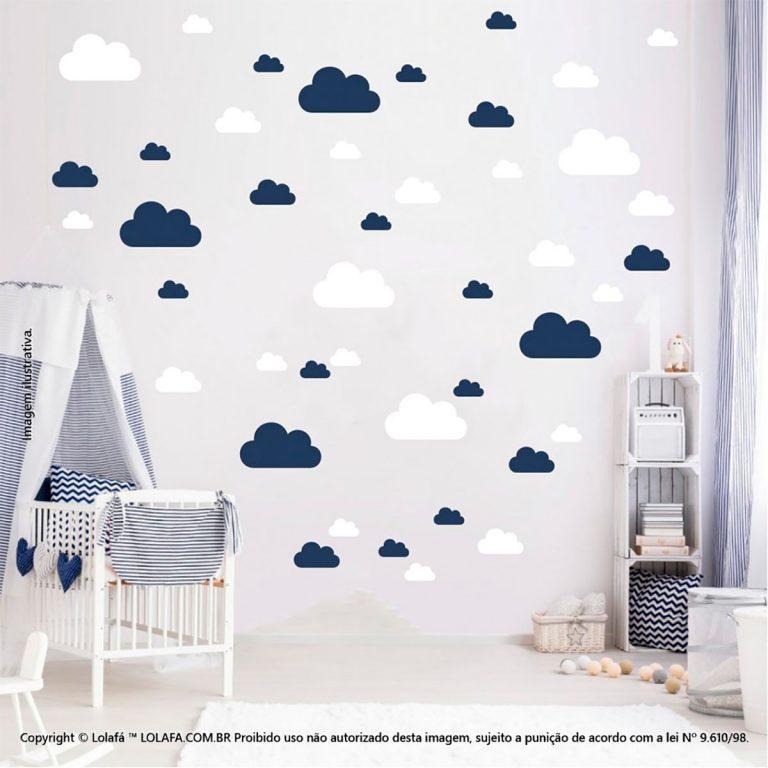 Kit Cartela Adesivo Parede Infantil Nuvens Mod:766
