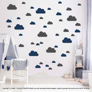 Kit Cartela Adesivo Quarto Bebe Nuvens Mod:768