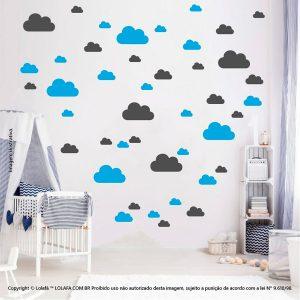 Kit Cartela Adesivo Para Parede Infantil Nuvens Mod:773