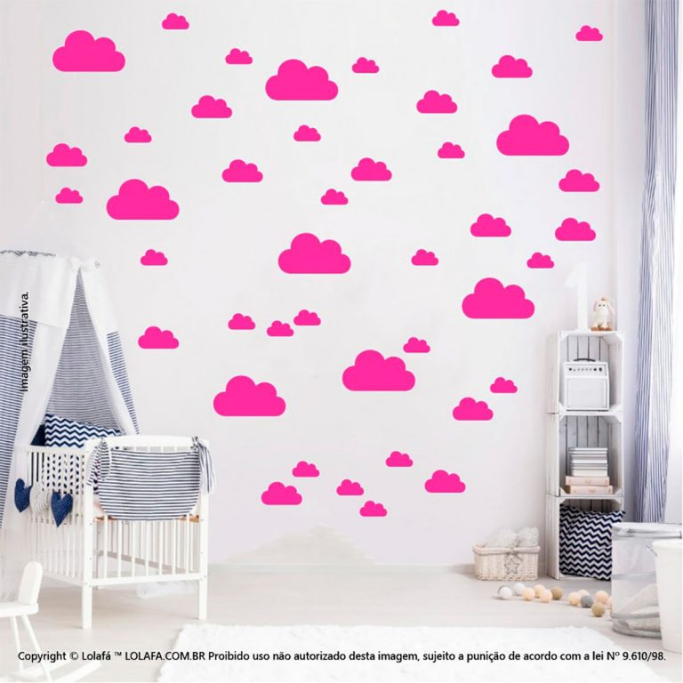 Kit Cartela Adesivo Quarto Infantil Nuvens Mod:774