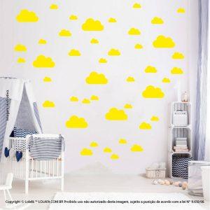 Kit Cartela Adesivos Quarto Infantil Nuvens Mod:776