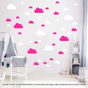 Kit Cartela Adesivo Infantil Para Parede Nuvens Mod:779