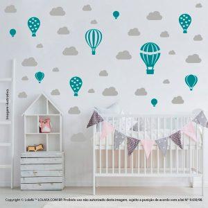 Kit Cartela Adesivo Decorativo Infantil Balões e Nuvens Mod:795