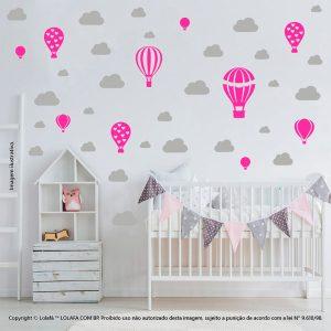 Kit Cartela Adesivo De Parede Infantil Barato Balões e Nuvens Mod:797