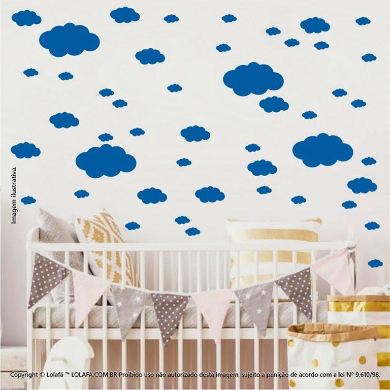 Kit Cartela Adesivos Infantil Nuvens Mod:818