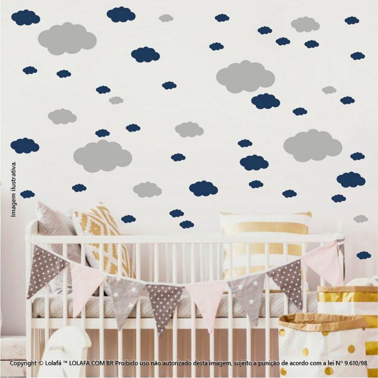Kit Cartela Adesivo Parede Infantil Nuvens Mod:820