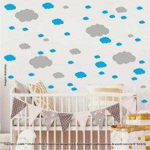 Kit Cartela Adesivo Quarto Bebe Nuvens Mod:822