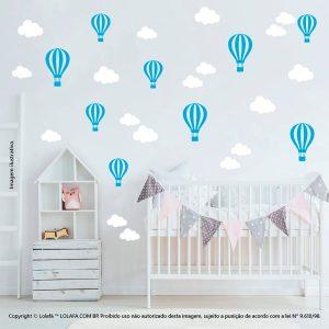 Kit Cartela Adesivos De Parede Para Quarto Infantil Nuvens e Balões Mod:832