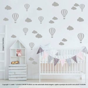 Kit Cartela Adesivo Infantil Para Parede Nuvens e Balões Mod:833