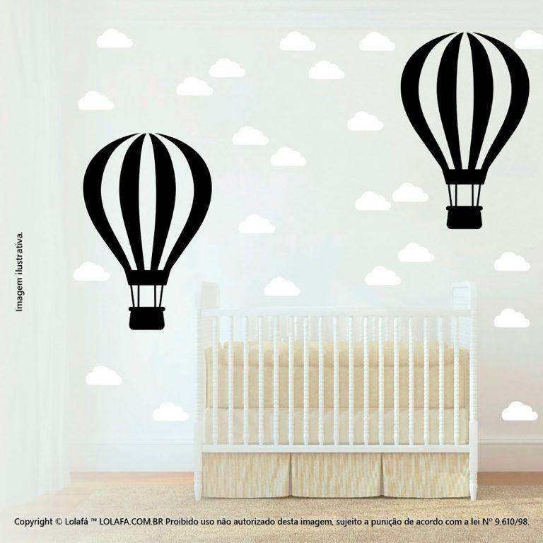 Kit Cartela Adesivo Infantil Balão e Nuvens Mod:871