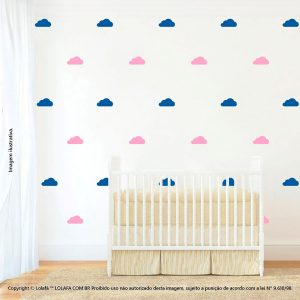 Kit Cartela Adesivo Para Parede Infantil Nuvens Mod:881