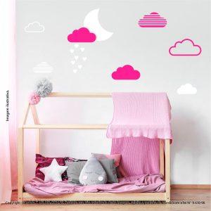 Kit Cartela Adesivo Infantil Para Parede Lua e Nuvens Mod:887
