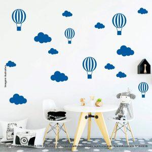 Kit Cartela Adesivo Decorativo Infantil Nuvens e Balões Mod:903