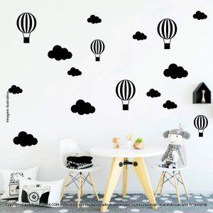 Kit Cartela Adesivo De Parede Infantil Barato Nuvens e Balões Mod:905