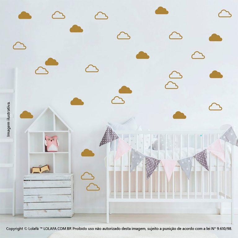 Kit Cartela Adesivo Parede Infantil Nuvens Mod:928