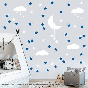 Kit Cartela Adesivo Para Parede Infantil Nuvens Estrelas e Lua Mod:935