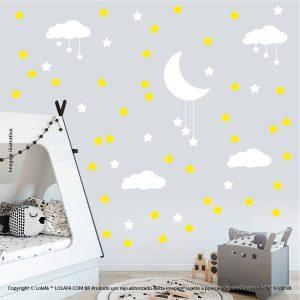 Kit Cartela Adesivo Quarto Infantil Nuvens Estrelas e Lua Mod:936