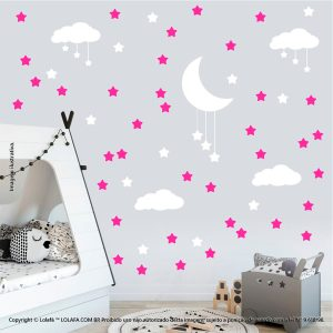 Kit Cartela Adesivos Para Parede Infantil Nuvens Estrelas e Lua Mod:937