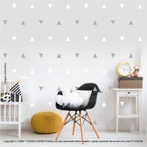 Kit Cartela Adesivo Infantil Para Parede Triângulos Mod:941