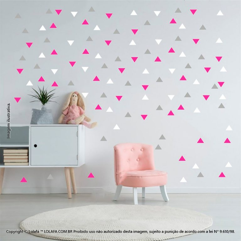 Kit Cartela Adesivo De Parede Infantil Barato Triângulos Mod:959