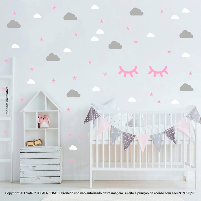 Kit Cartela Adesivo De Parede Infantil Nuvens Cílios e Estrelas Mod:973