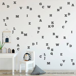 Kit Cartela Adesivo Quarto Bebe Alfabeto Mod:984