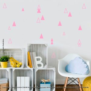 Kit Cartela Adesivo Para Parede Infantil Triângulos Mod:989
