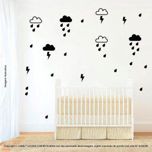 Kit Cartela Adesivo Decorativo Infantil Nuvens Gotas e Raio Mod:1011