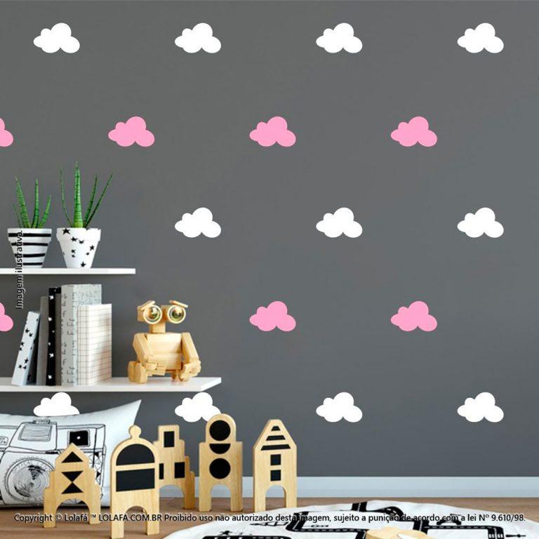 Kit Cartela Adesivos Para Decorar Quarto De Bebe Nuvens Mod:1023