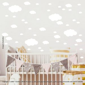 Kit Cartela Adesivo Decorativo Quarto Bebe Nuvens Mod:1026