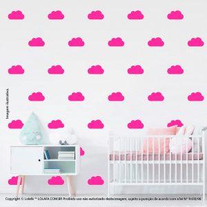 Kit Cartela Adesivo De Quarto De Bebe Nuvens Mod:1056