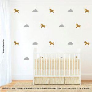 Kit Cartela Adesivos De Quarto De Bebe Unicórnio e Nuvens Mod:1058
