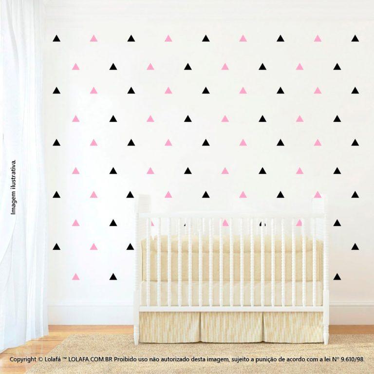 Kit Cartela Adesivo Para Parede Quarto De Bebe Triângulos Mod:1069