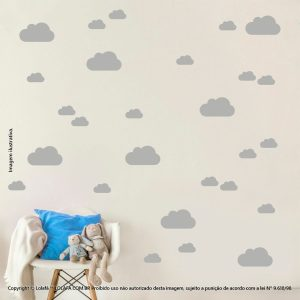 Kit Cartela Adesivos Decorativos Infantis Nuvens Mod:1073