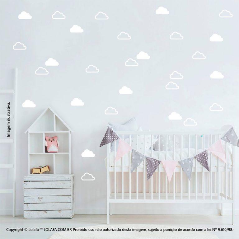 Kit Cartela Adesivos Para Decorar Quarto De Bebe Nuvens Mod:1077
