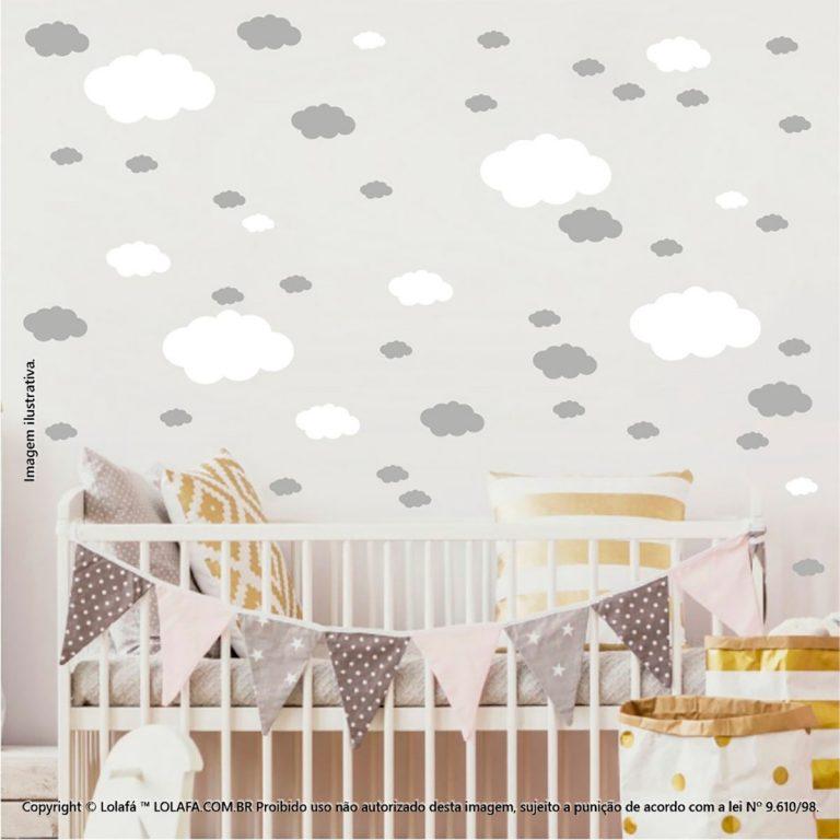 Kit Cartela Adesivos De Parede Infantis Nuvens Mod:1083